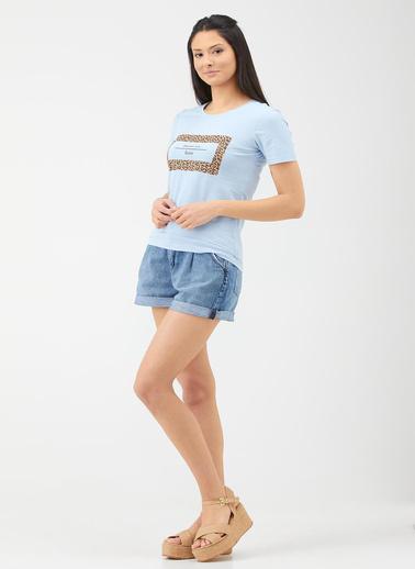 Sementa Sıfır Yaka Baskılı Tshirt - Açık Mavi Mavi